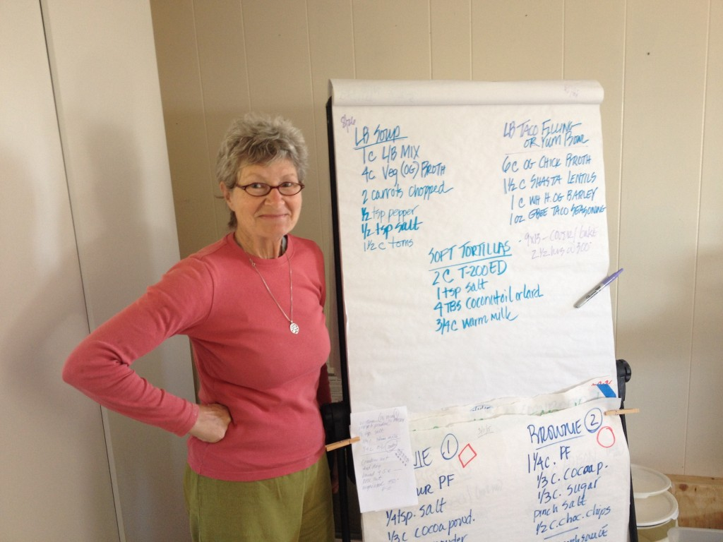 Stephanie Powers with her flour recipe chart at Camas Country Mill.
